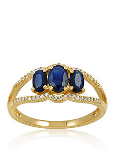 Belk & Co. Sapphire & Diamond Ring in 10K Yellow Gold