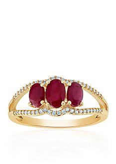 Belk & Co. Ruby & Diamond Ring in 10K Yellow Gold