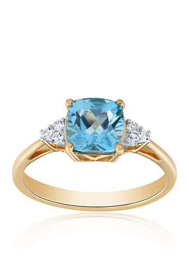 Belk & Co. Blue Topaz and White Topaz Ring in 10K Yellow Gold