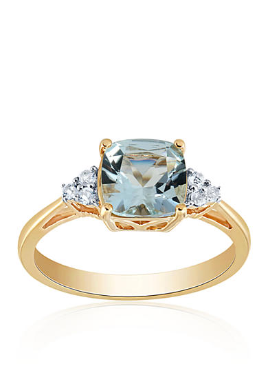 Belk co aquamarine and white topaz ring in 10k yellow for Belk fine jewelry rings