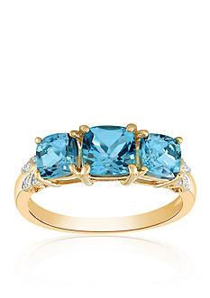 Belk & Co. Blue Topaz & Diamond Ring in 10K Yellow Gold