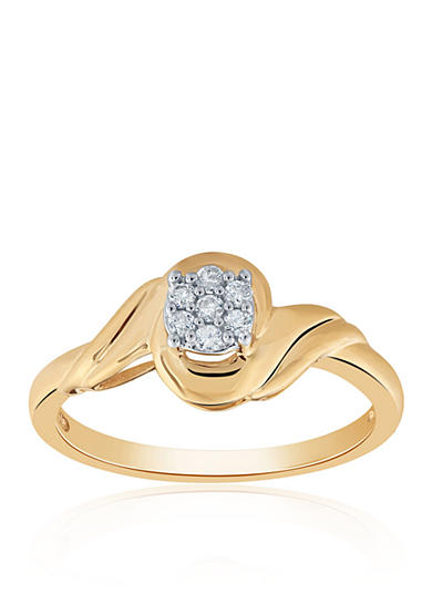 Belk & Co. 0.11 ct. t.w. Diamond Round Cluster Ring in 10K Yellow Gold