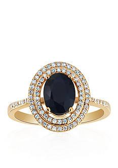 Belk & Co. Oval Sapphire & Diamond Ring in 10K Yellow Gold