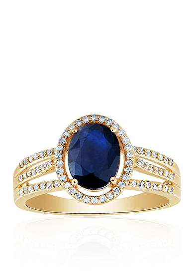 Belk co sapphire and diamond ring in 10k yellow gold belk for Belk fine jewelry rings
