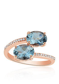 Belk & Co. Aquamarine & Diamond Ring in 10K Rose Gold