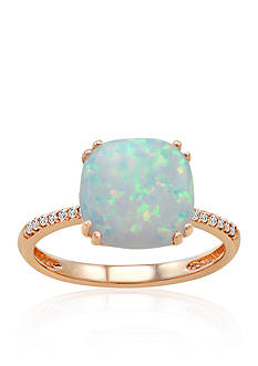 Belk & Co. Created Opal and Diamond Ring in 10k Rose Gold