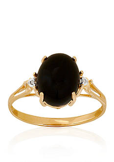 Belk & Co. Onyx and Diamond Ring in 10k Yellow Gold