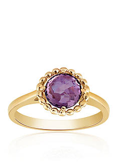 Belk & Co. Amethyst Beaded Ring in 10k Yellow Gold