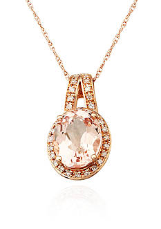 Belk & Co. Morganite and Diamond Pendant Necklace in 10k Rose Gold