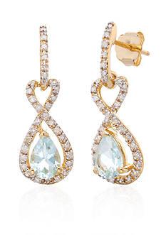 Belk & Co. Aquamarine & Diamond Promise Infinity Earrings in 10K Yellow Gold
