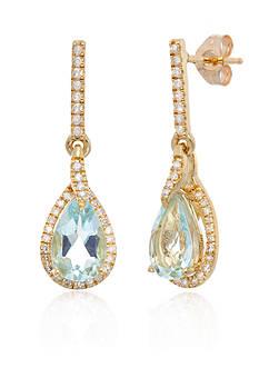 Belk & Co. Aquamarine Amethyst & Diamond Earrings in 10K Yellow Gold