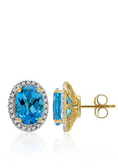 Belk & Co. Blue Topaz and Diamond Earrings in 10k Yellow Gold