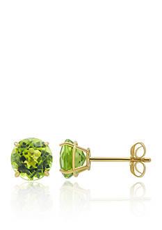 Belk & Co. Peridot Stud Earrings in 10K Yellow Gold