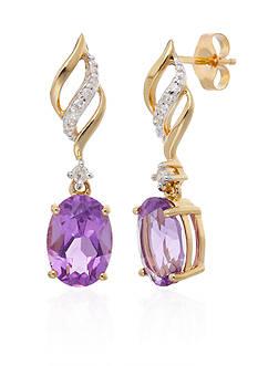 Belk & Co. Purple Amethyst & Diamond Earrings in 10K Yellow Gold
