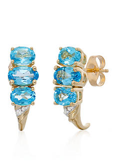 Belk & Co. Blue Topaz 3 Stone J-Hoop Earrings in 10K Yellow Gold