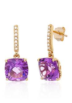 Belk & Co. Purple Amethyst and Diamond Earrings in 10k Yellow Gold