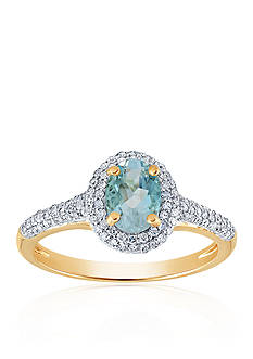 Belk & Co. Aquamarine and Diamond Ring in 10k Yellow Gold