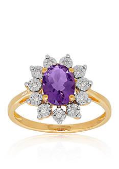 Belk & Co. Purple Amethyst & Diamond Ring in 10K Yellow Gold