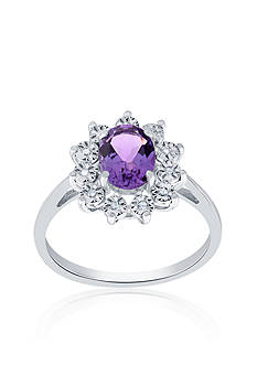 Belk & Co. Oval Amethyst and Diamond Ring in 10k White Gold