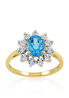 Belk & Co. Blue Topaz & Diamond Ring in 10K Yellow Gold