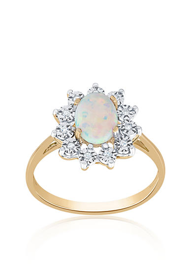 Belk co opal and diamond ring in 10k yellow gold belk for Belk fine jewelry rings