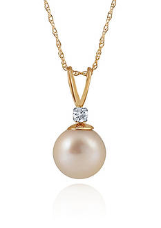 Belk & Co. Freshwater Pearl & Diamond Necklace in 10K Yellow Gold