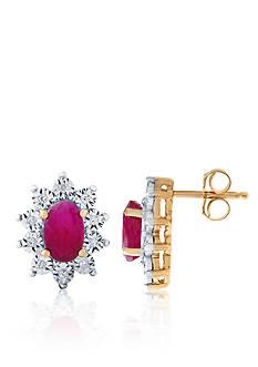 Belk & Co. Ruby and Diamond Earrings in 10k Yellow Gold