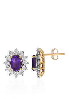 Belk & Co. Amethyst & Diamond Earrings in 10K Yellow Gold