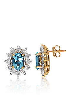 Belk & Co. Aquamarine & Diamond Earrings in 10K Yellow Gold