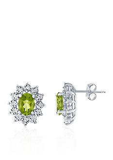 Belk & Co. Peridot and Diamond Oval Earrings in 10k White Gold