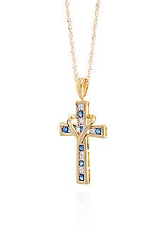 Belk & Co. Blue Sapphire & Diamond Cross Pendant in 10K Yellow Gold