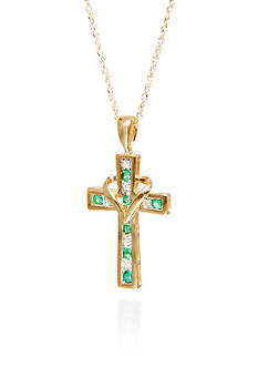 Belk & Co. Emerald & Diamond Cross Pendant in 10K Yellow Gold