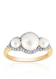 Belk & Co. Freshwater Pearl & Diamond Ring in 10K Yellow Gold