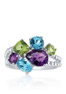 Belk & Co. Amethyst, Blue Topaz, & Peridot Ring in Sterling Silver