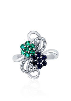 Belk & Co. Created Sapphire, Created Emerald, & Created White Sapphire Flower Ring in Sterling Silver