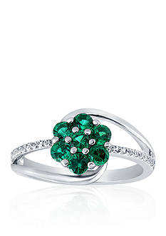 Belk & Co. Created Emerald & Created White Sapphire Flower Ring in Sterling Silver