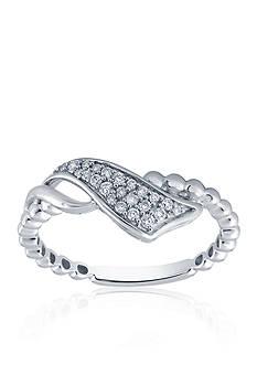 Belk & Co. 1/6 ct. t.w. Diamond Ribbon Bead Ring in Sterling Silver