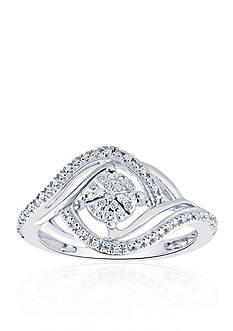 Belk & Co. 1/10 ct. t.w. Diamond Swirl Illusion Ring in Sterling Silver