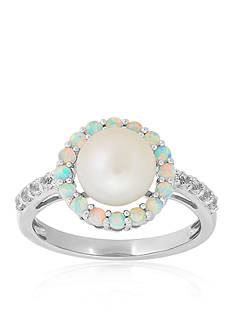 Belk & Co. Freshwater Pearl and Created Opal with Sapphire Halo Ring in Sterling Silver