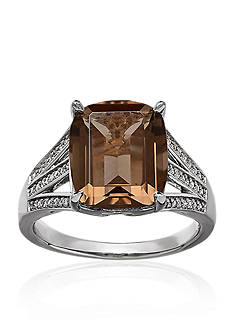 Belk & Co. Smokey Quartz and Diamond Ring in Sterling Silver