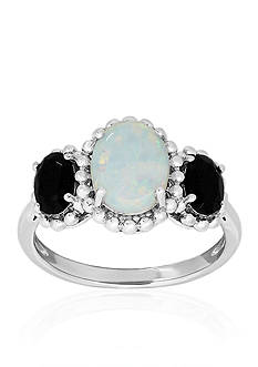 Belk & Co. Created Opal and Onyx Ring in Sterling Silver