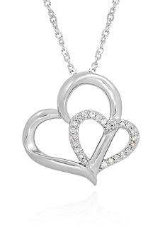 Belk & Co. 1/10 ct. t.w. Diamond Double Heart Pendant in Sterling Silver