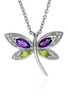 Belk & Co. Amethyst, Diamond, and Peridot Butterfly Pendant in Sterling Silver