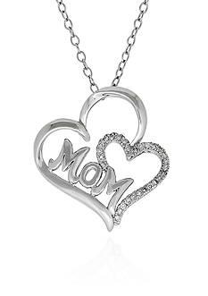Belk & Co. Diamond Double Heart Pendant Necklace in Sterling Silver