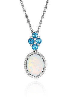 Belk & Co. Created Opal, Blue Topaz and Diamond Pendant in Sterling Silver