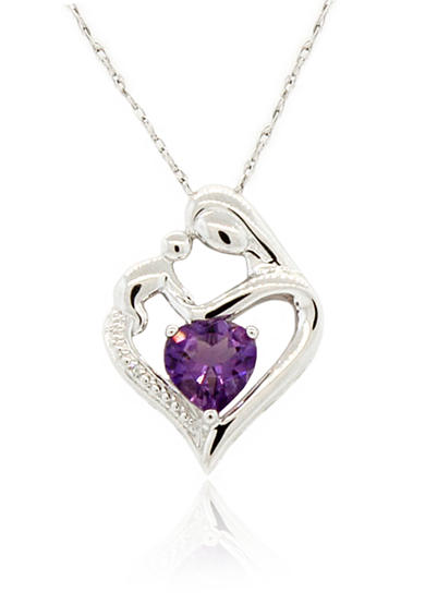 Belk & Co. Pink Sapphire Pendant Necklace in Sterling Silver