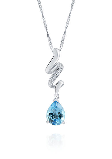 Belk & Co. Topaz and Cubic Zirconia Pendant in Sterling Silver