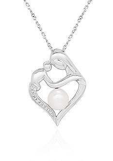 Belk & Co. Freshwater Pearl and Diamond Mother-Child Heart Pendant Necklace in Sterling Silver