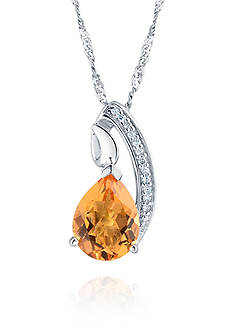 Belk & Co. Citrine and Diamond Pendant in Sterling Silver