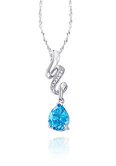 Belk & Co. Blue Topaz and Diamond Necklace in Sterling Silver